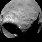 Phobos, one of two moons orbiting Mars